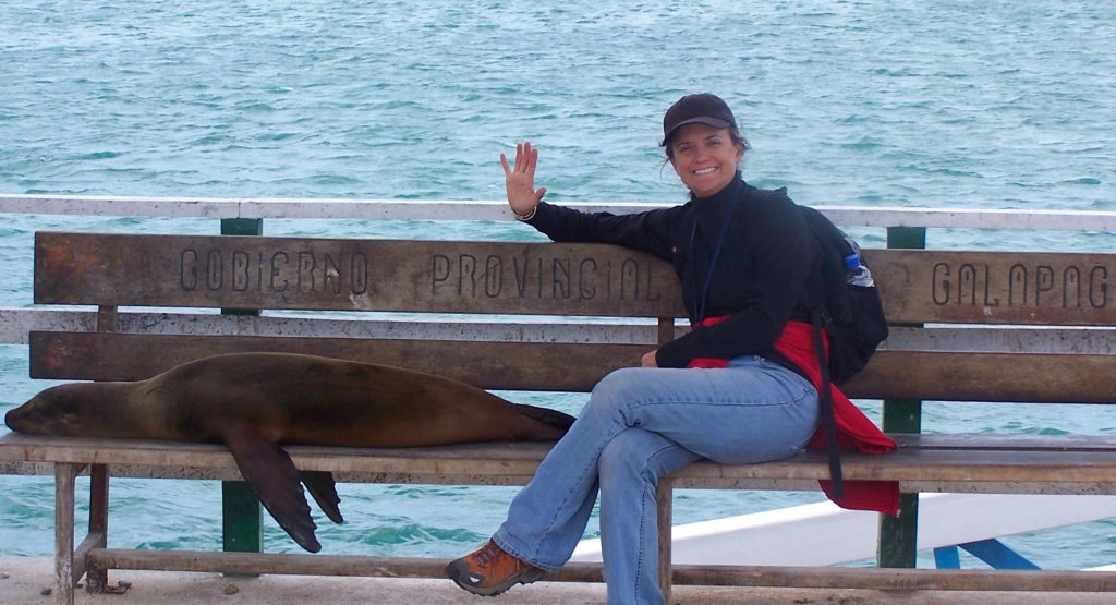 M. Espinosa hangind with a %22local%22 before boarding the Galapagos Explorer
