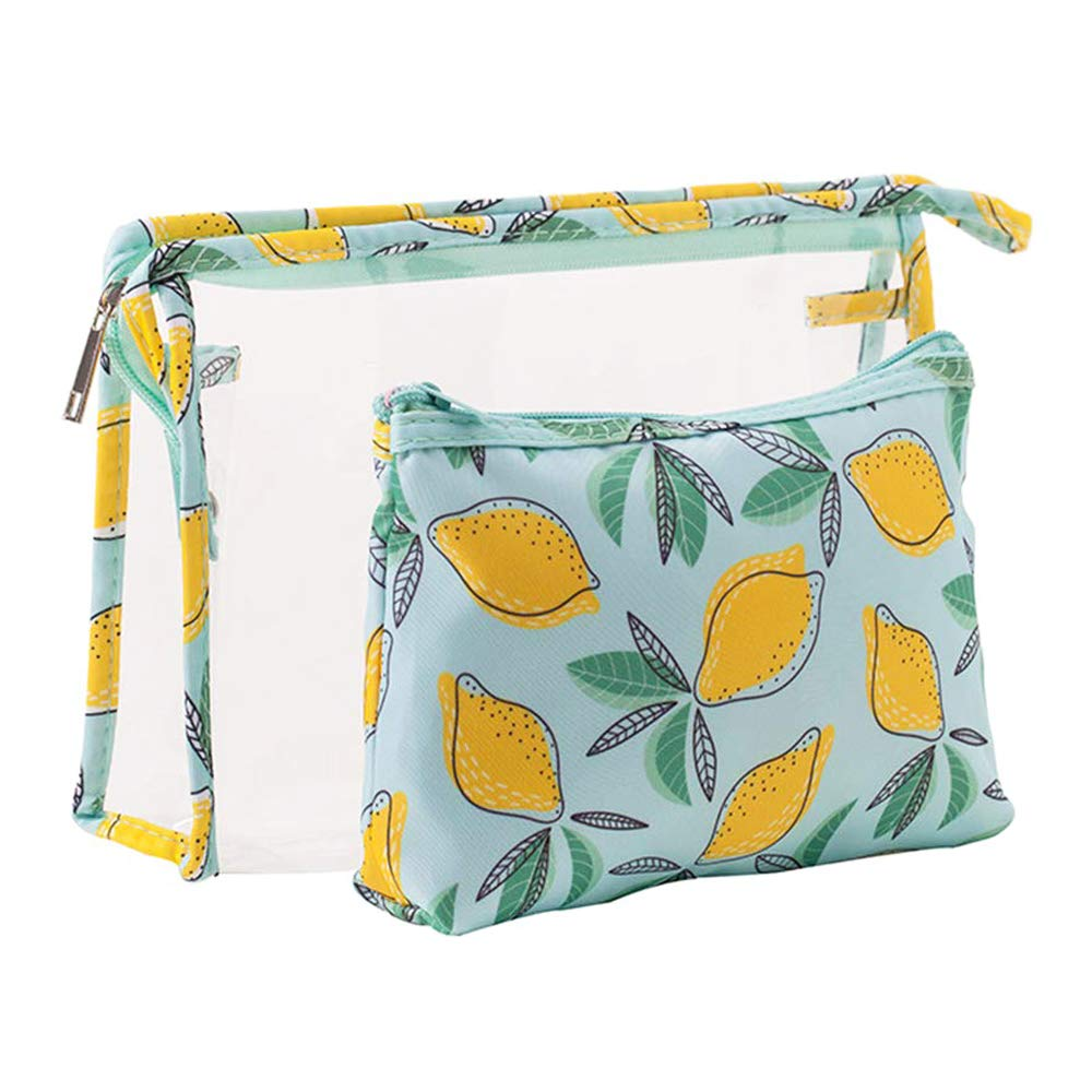 Lemon patterned toiletry and makeup bags for National Lemonade Day