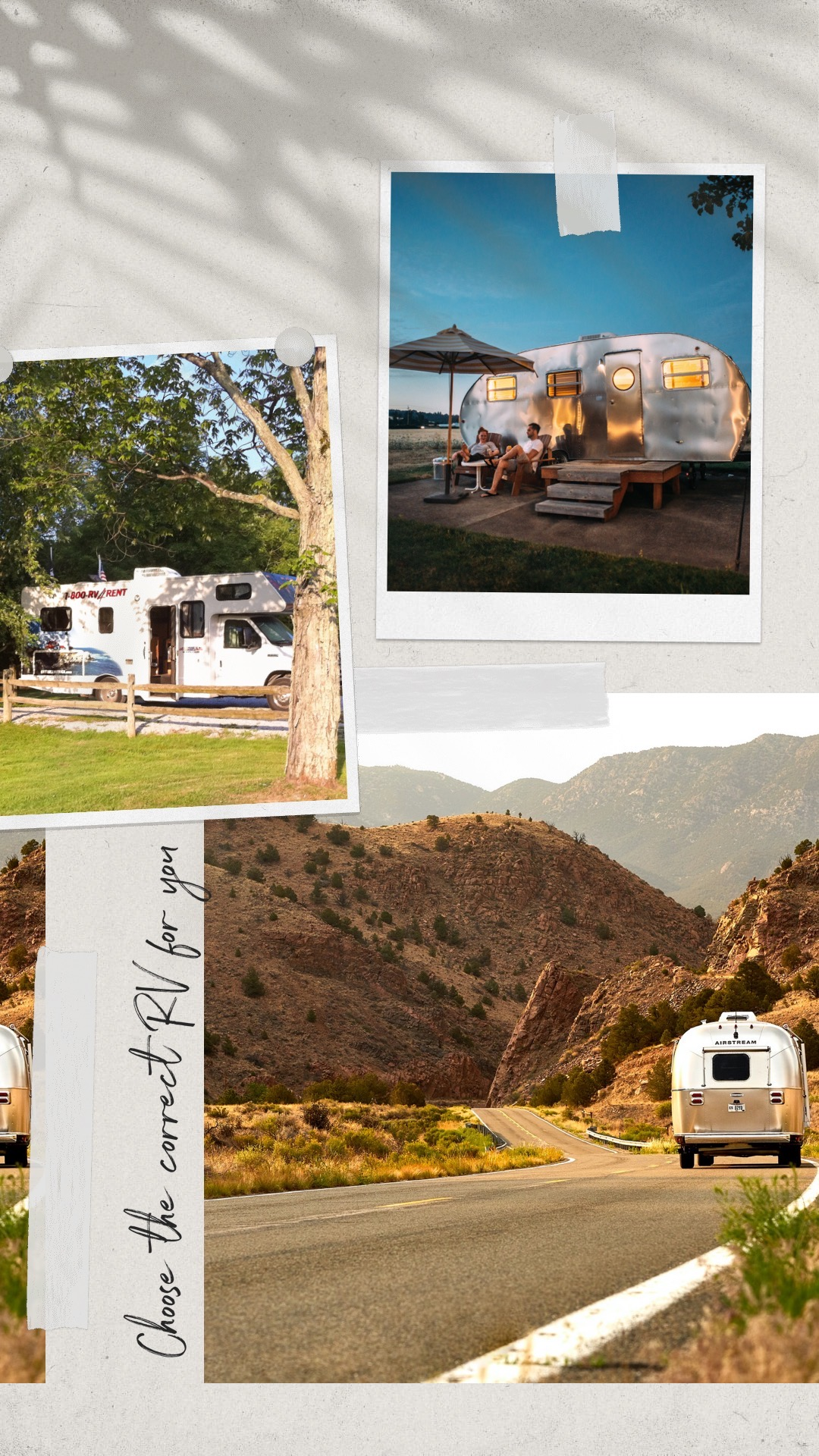 RV choice collage - rent an RV