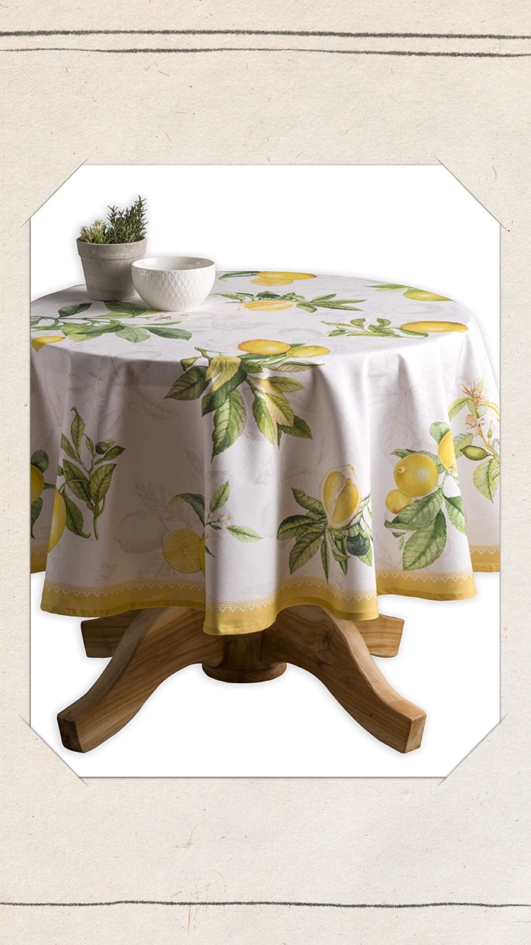 Lemon print table cloth.