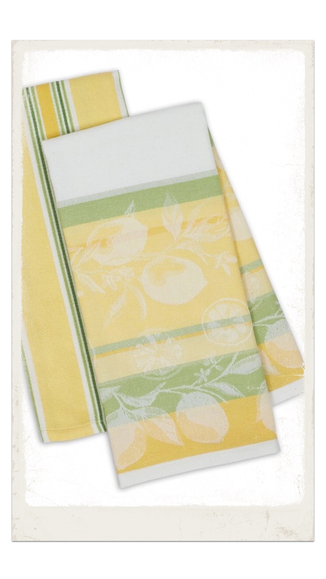 Lemon patterned tea towels for National Lemonade Day