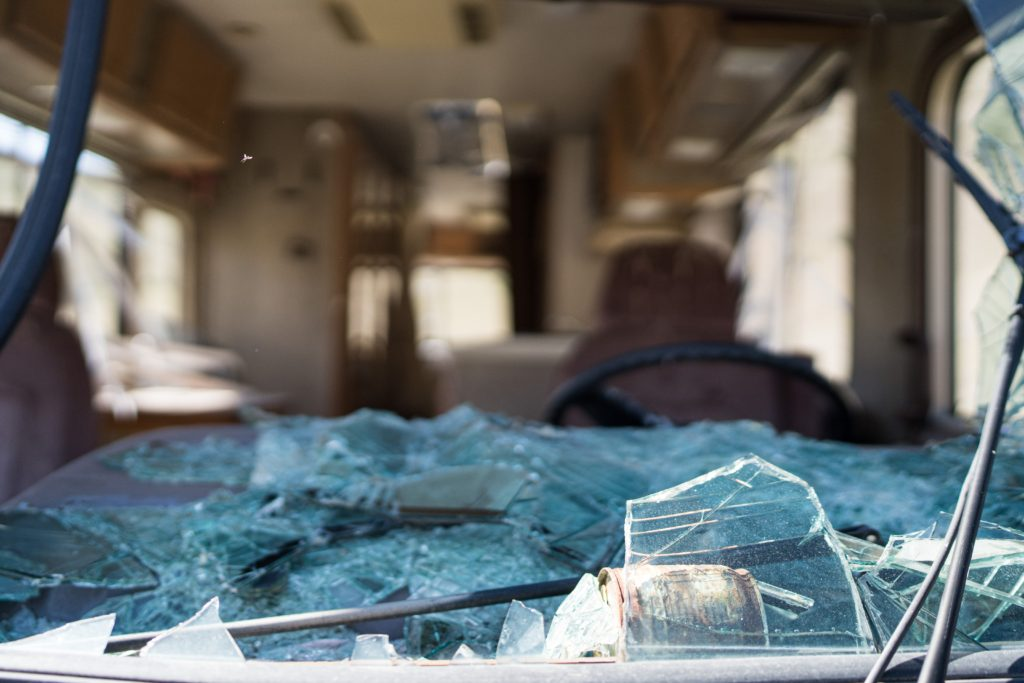 RV with smashed window