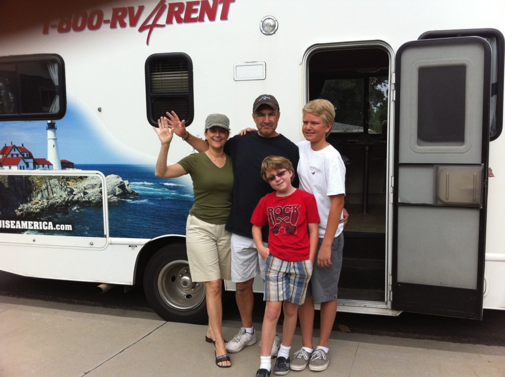 The family leaving on our RV trip