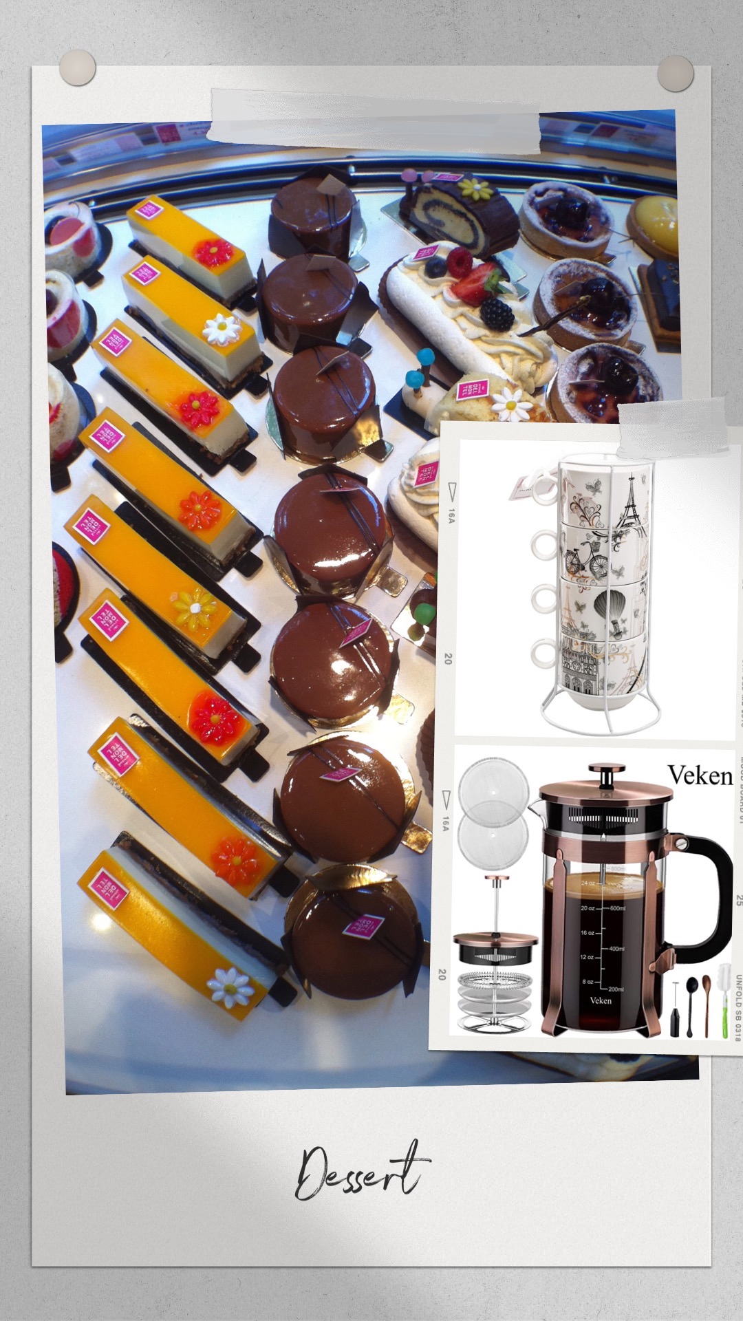 French pastries, coffee cups, French press
