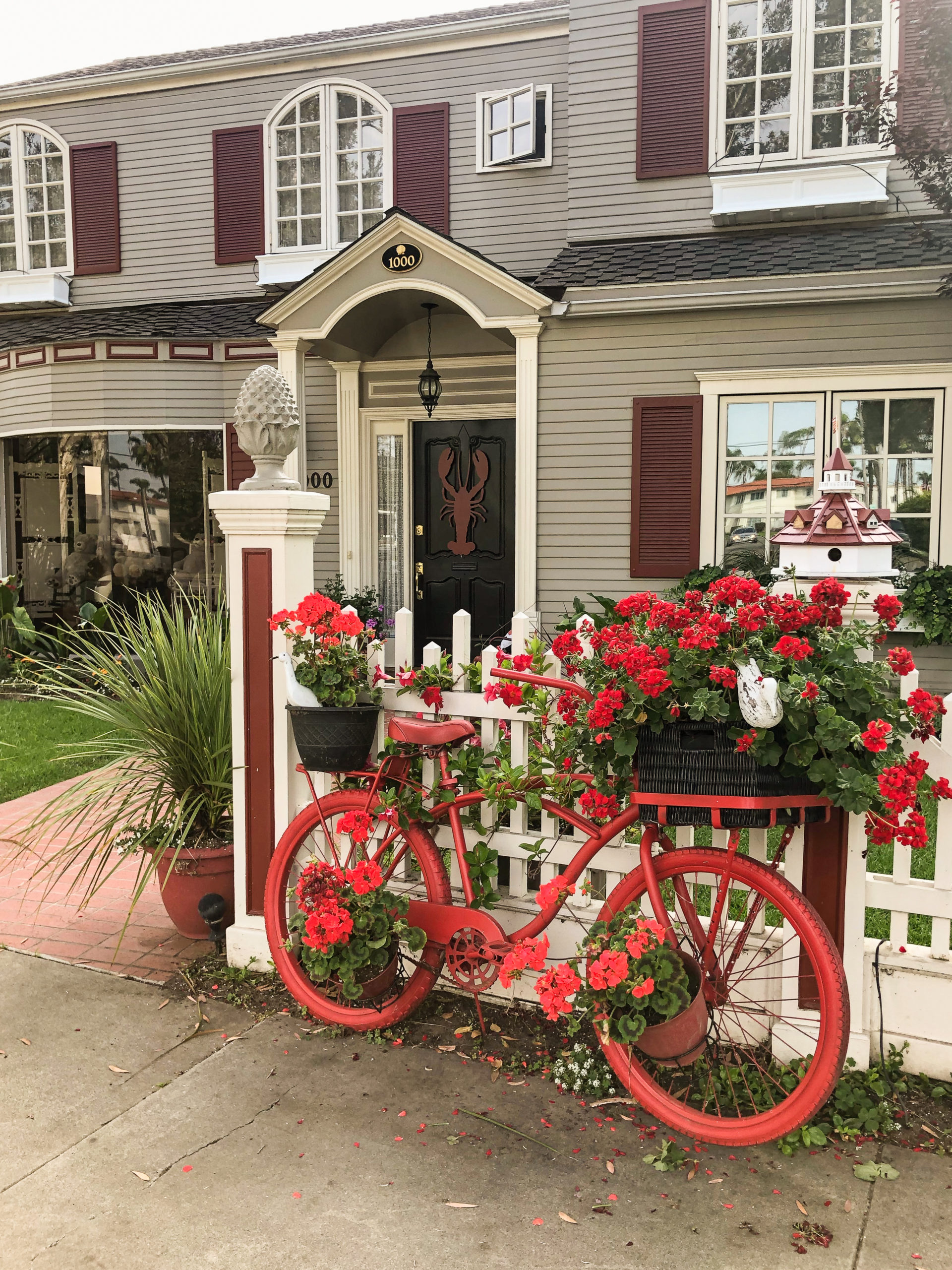 Staycation in Coronado home with red bike and flowers