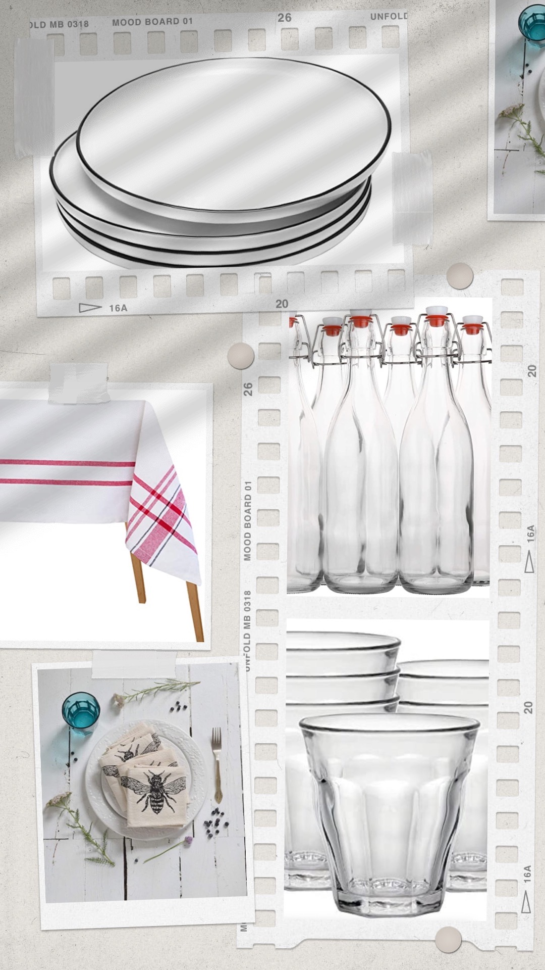Plates, tablecloth, napkins, & tumblers for dinner party