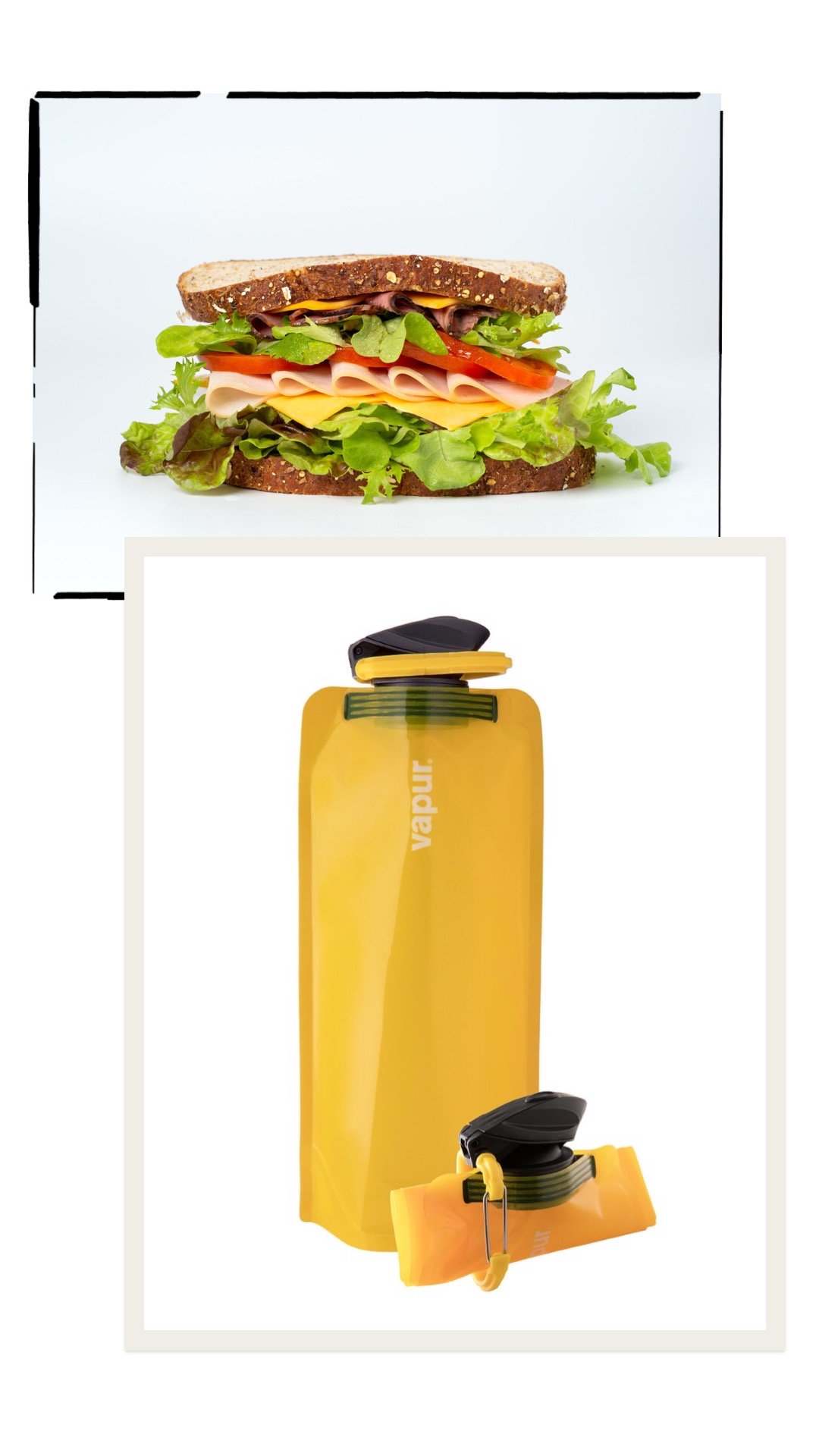 Sandwich and Vapur disposable bottle