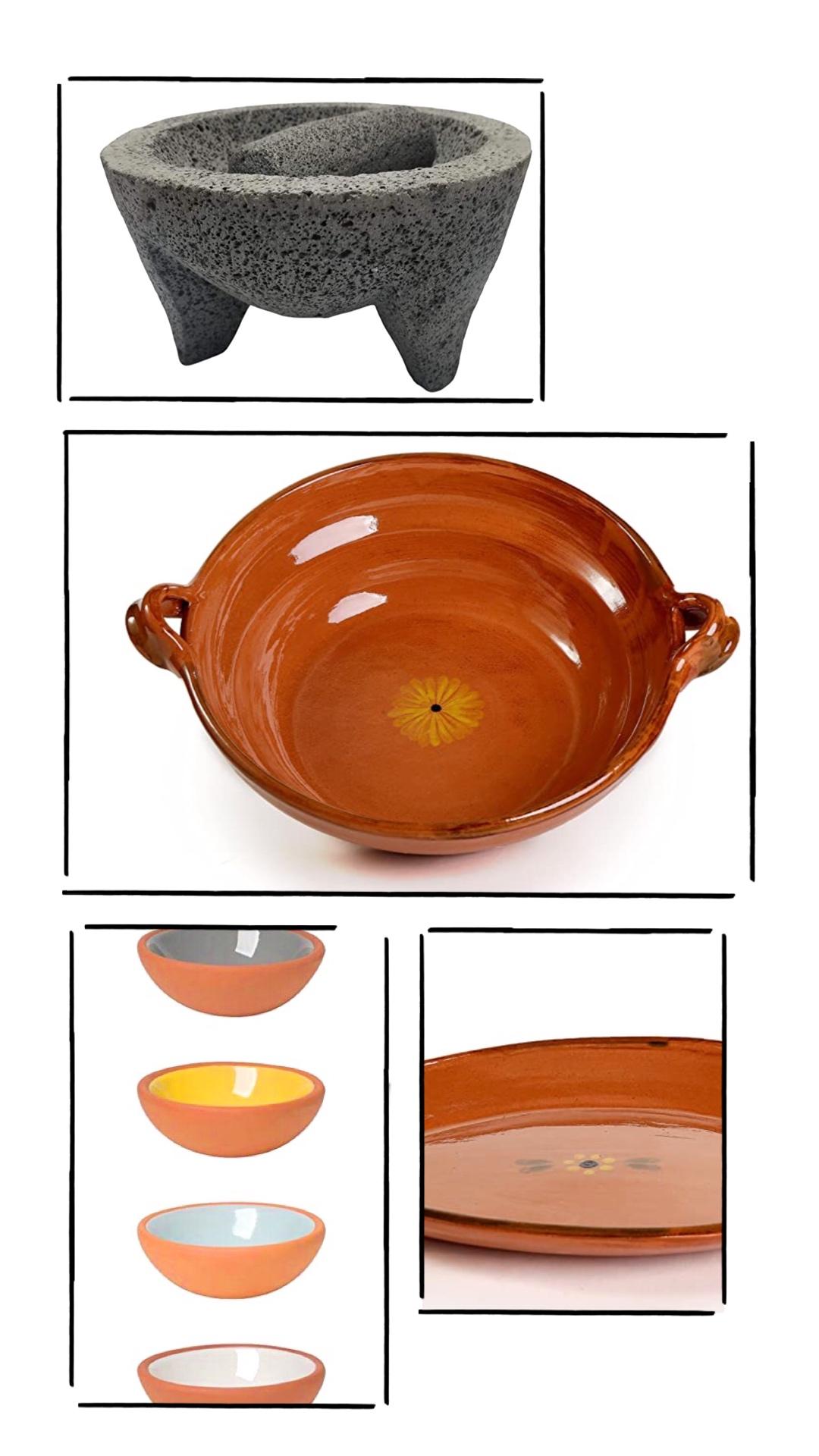 Molcajete, cazuela, clay platter, small clay bowls