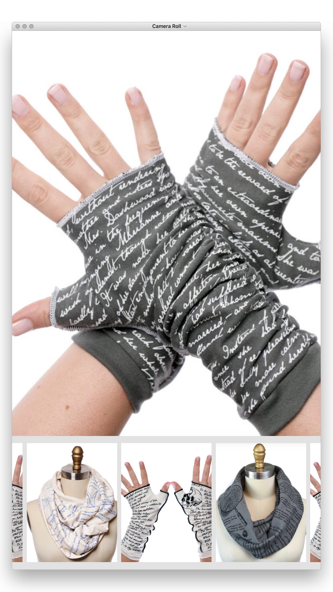 Storiarts gloves and scarves
